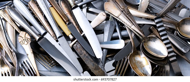 Heap of cutlery, Knifes, Spoons and forks