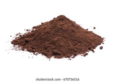 heap of dark cocoa powder on white background