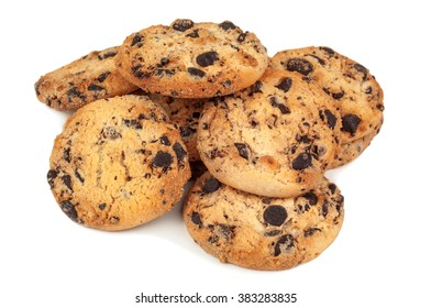 heap of delicious cookies on white background