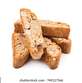 Heap of delicious Italian cantuccini cookies isolated on white background with soft shadow