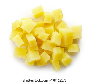Heap of diced boiled potatoes isolated on white background, top view