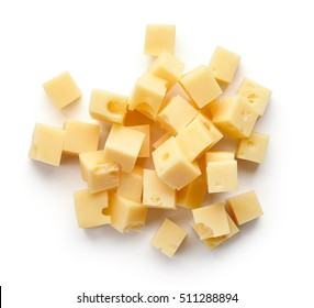 Heap of diced cheese isolated on white background, top view
