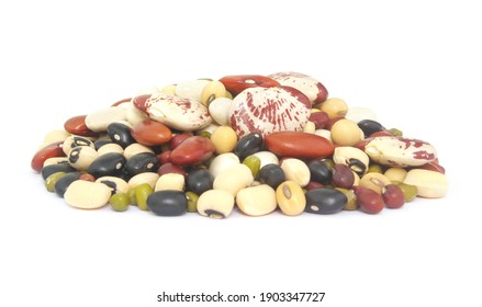 Heap of different beans isolated on white