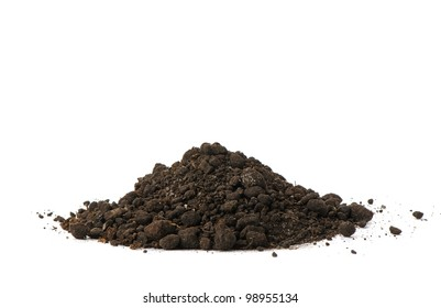 Heap dirt. Isolated on white background