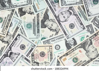 Heap of  dollars close-up