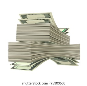 Heap of dollars isolated on white background