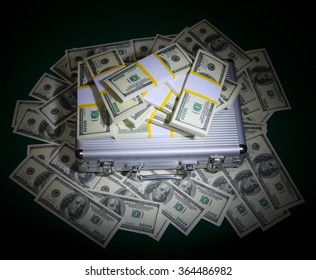 Heap of dollars on green table