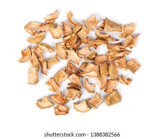 Heap of dried apple slices isolated on white background