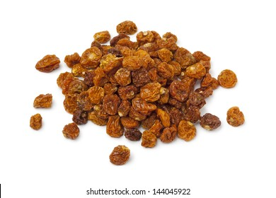 Heap of dried Cape gooseberries on white background