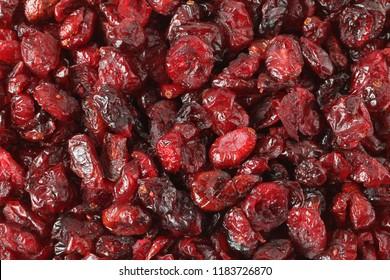 Heap of dried cranberries. Background. Closeup