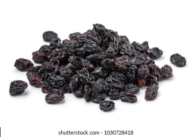 Heap of dried currants isolated on white background