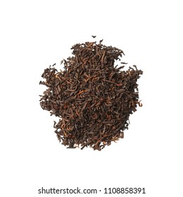 Heap of dried herbal tea leaves isolated on white. Top view of tea Palace Puer.