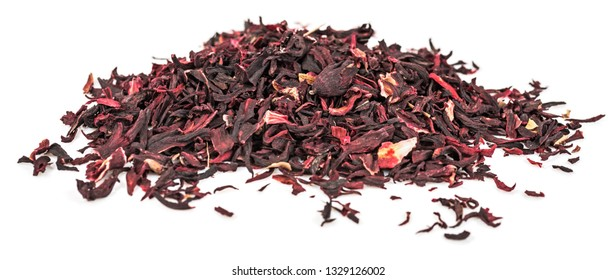 Heap of dried hibiscus petals isolated on white background. Red tea, karkade.