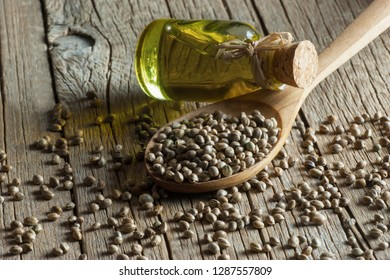 Heap of dried organic hemp seeds or cannabis plant seeds in spoon with glass of hemp seed oil on wooden backdrop. cannabis herb concept. hemp seed used birdseed