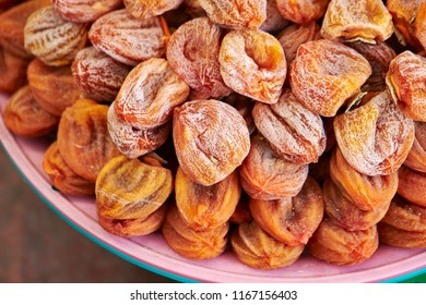 Heap of dried persimmons