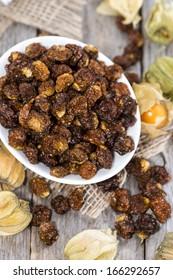Heap of dried Physalis Fruits