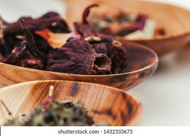 Heap of dried  tea leaves close up