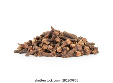 heap of dry cloves spice isolated on a white