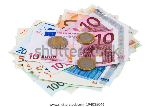 Heap of euro banknotes and coins isolated on white background with clipping path