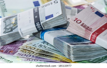 Heap of Euro Bills (from 5 to 500 Euro)