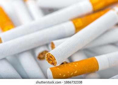 Heap of the filtered cigarettes close up