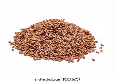 heap of flax seeds isolated