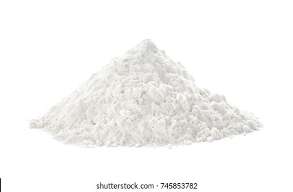 Heap of flour on white background