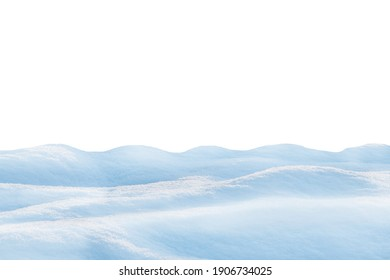 Heap of fluffy snow isolated on white