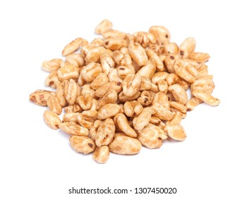 Heap of fluffy wheat grains isolated on white background