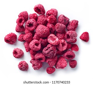Heap of freeze dried raspberries isolated on white background. Top view