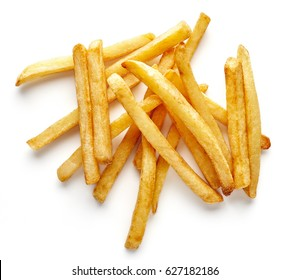 Heap of french fries isolated on white background, top view