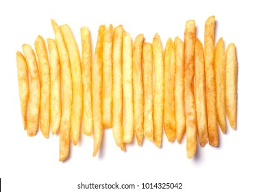Heap of French fries lined up in a row isolated on  white background