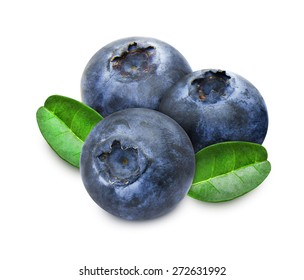 Heap of fresh blueberries with green leaves isolated on white background