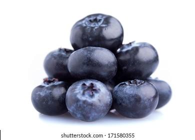 Heap of fresh blueberrys, isolated on white background