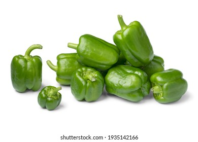 Heap of fresh green whole small peppers isolated on white background