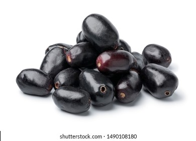 Heap of fresh Jamun berries isolated on white background