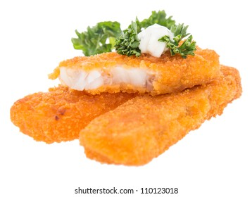Heap of fried Fish with Remoulade and Parsley isolated on white