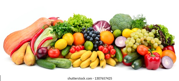 Heap fruit and vegetables isolated on white background