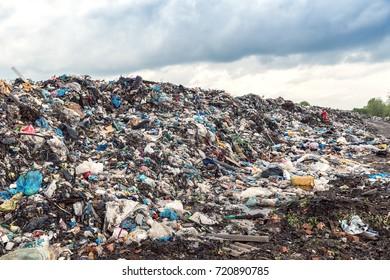 heap of garbage on illegal trash dump