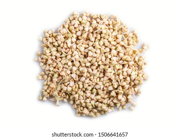 Heap of germinated buckwheat isolated on white background, top view, close up.