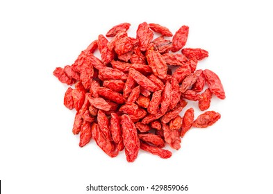 heap of goji berries isolated on white background.top view