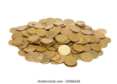 Heap of golden coins isolated on white.