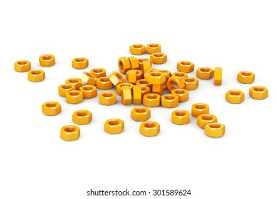 Heap of Golden Screw Steel Nuts on a white background