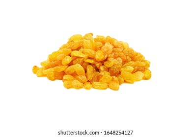 heap of golden sultana raisins isolated on white background