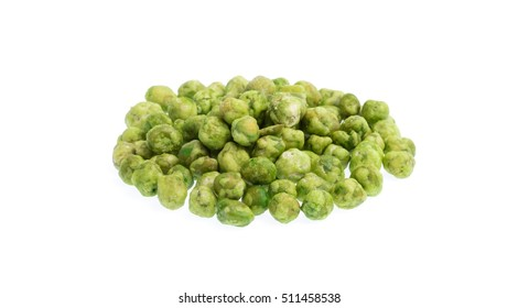 Heap of Green beans snacks isolated on white background