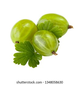 heap of green gooseberries isolated on white background