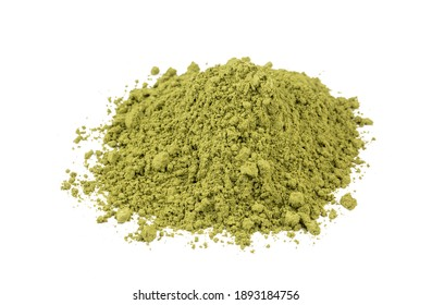 Heap of green henna powder isolated on white background