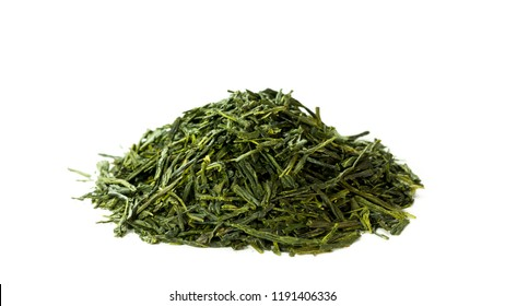 Heap of green japanese sencha tea isolated on white background