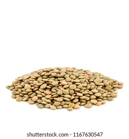 Heap of green lentil isolated on white background