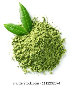 Heap of green matcha tea powder and leaves isolated on white background. Top view